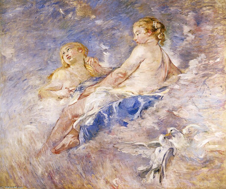 'Venus at the Forge of Vulcan (after Boucher)', Oil by Berthe Morisot (1841-1895, France)