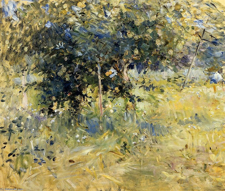 'Willows in the Garden at Bougival', Oil by Berthe Morisot (1841-1895, France)