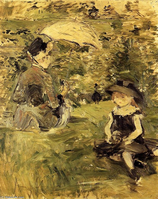 Young Woman and Child on an Isle by Berthe Morisot (1841-1895, France) | Painting Copy | WahooArt.com