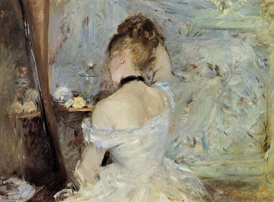 'Young Woman at the Mirror (aka Young Girl Getting Dressed, Seen from the Back)', Oil by Berthe Morisot (1841-1895, France)