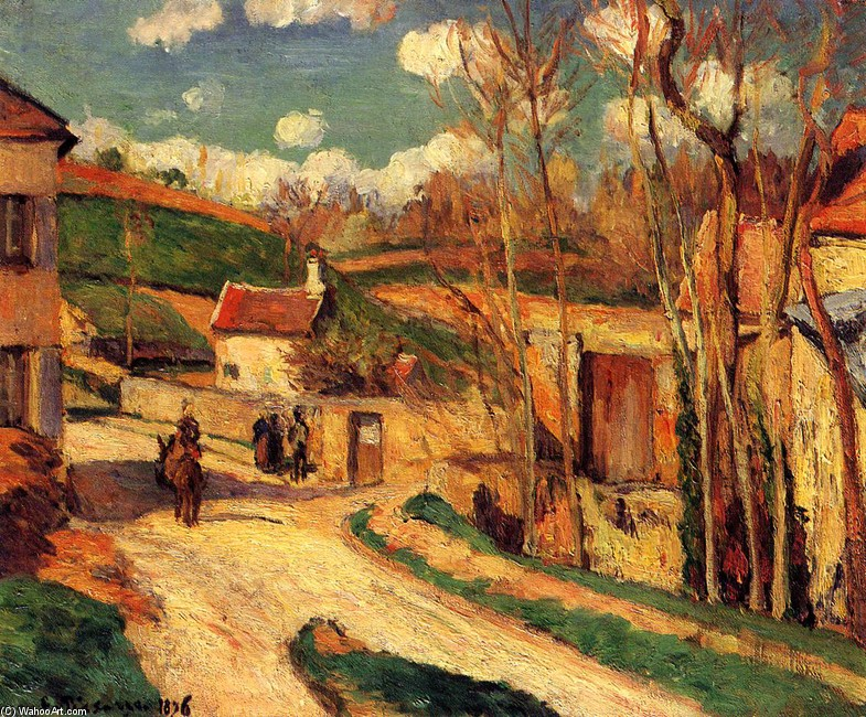 Crossroads at l`Hermitage, Pontoise by Camille Pissarro (1830-1903, France) | Museum Quality Reproductions | WahooArt.com