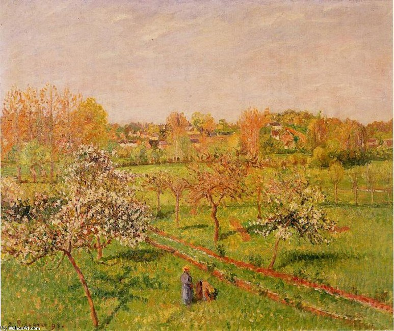 'Morning, Flowering Apple Trees, Eragny', Oil by Camille Pissarro (1830-1903, France)