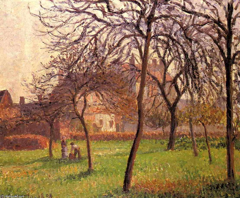 Mother Lucien`s Field at Eragny by Camille Pissarro (1830-1903, France) | Oil Painting | WahooArt.com