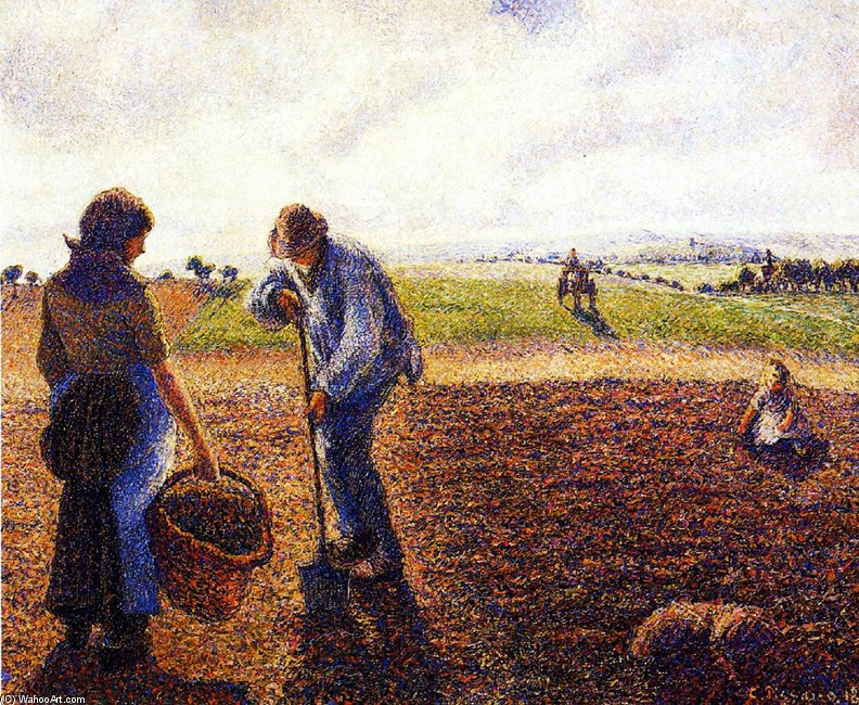 'Peasants in the Field, Eragny', Oil by Camille Pissarro (1830-1903, France)
