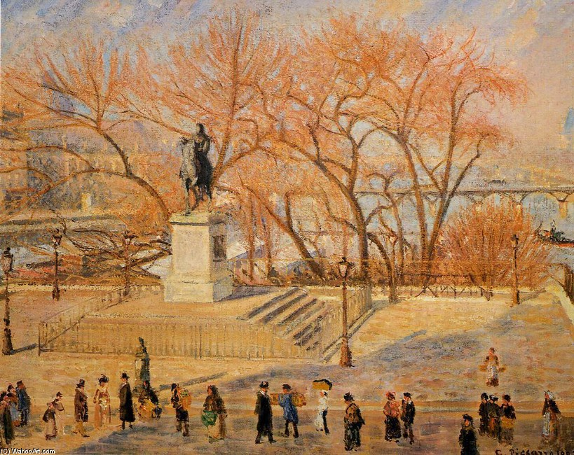 Square du Vert-Galant. Sunny Morning by Camille Pissarro (1830-1903, France) | Museum Quality Reproductions | WahooArt.com