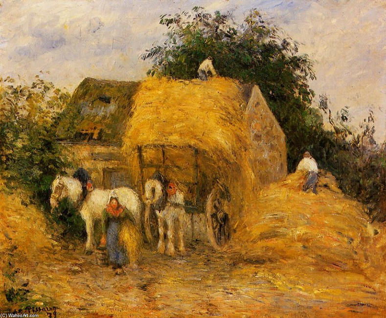 The Hay Wagon, Montfoucault by Camille Pissarro (1830-1903, France) | Painting Copy | WahooArt.com