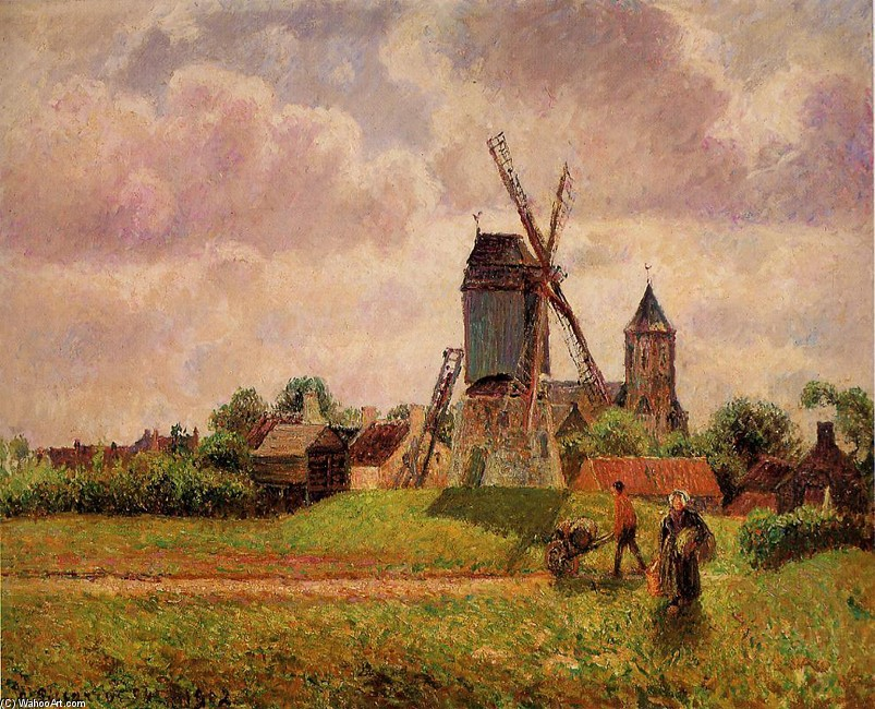 'The Knocke Windmill, Belgium', Oil by Camille Pissarro (1830-1903, France)