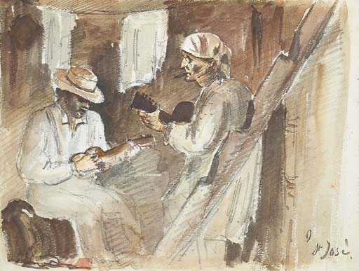 'Two men playing the guitar in an interior in San José', Watercolor by Camille Pissarro (1830-1903, France)