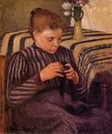 Camille Pissarro - Young Girl Mending Her Stockings