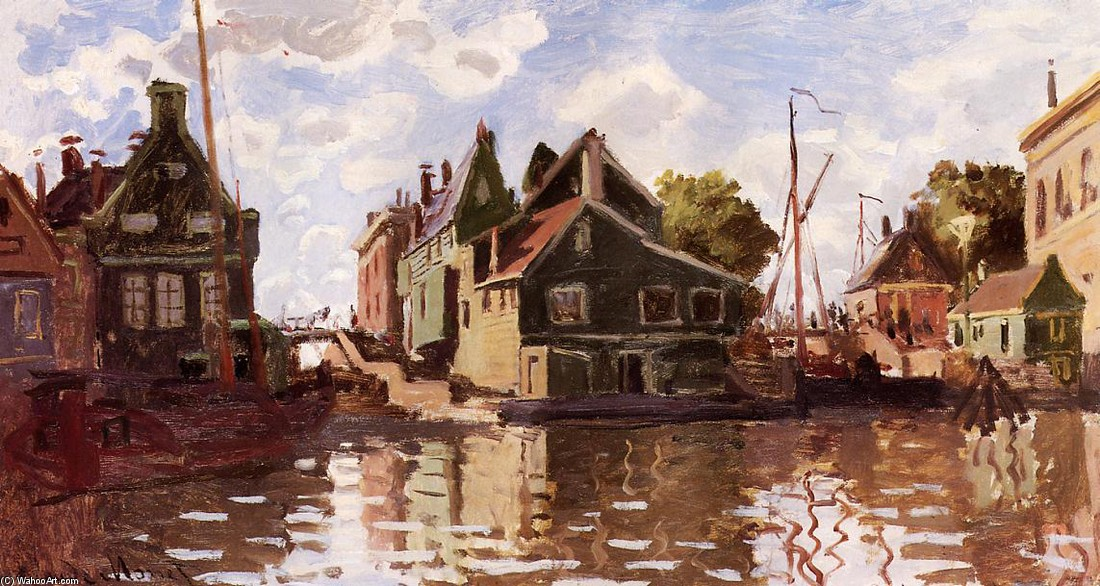 'Canal in Zaandam', Oil by Claude Monet (1840-1926, France)