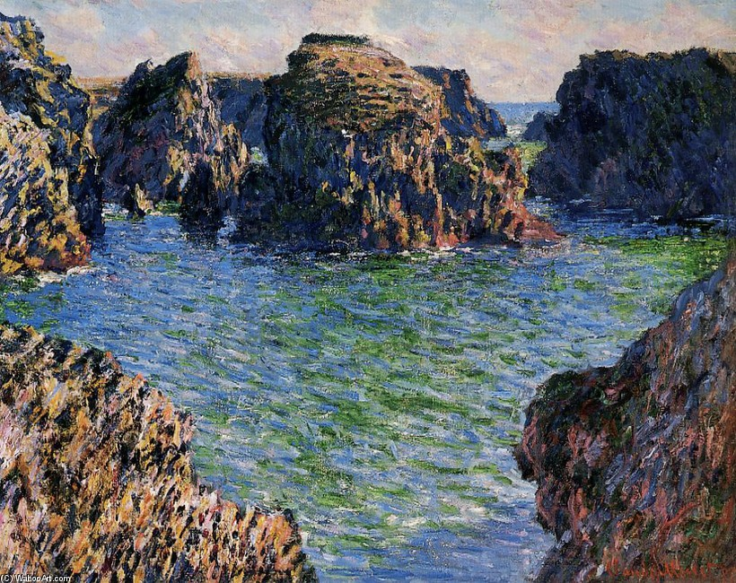Coming into Port-Goulphar, Belle-Ile by Claude Monet (1840-1926, France) | Museum Quality Reproductions | WahooArt.com