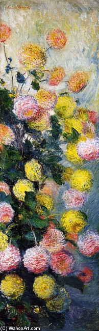 'Dahlias 1', Oil by Claude Monet (1840-1926, France)
