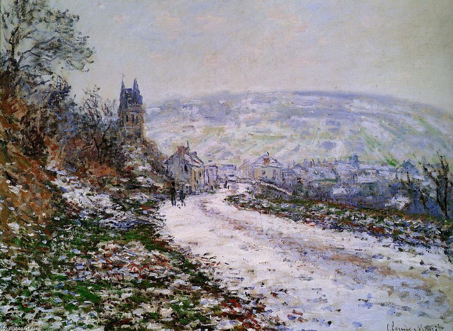 'Entering the Village of Vetheuil in Winter', Oil by Claude Monet (1840-1926, France)