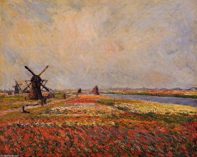 Fields of Flowers and Windmills near Leiden by Claude Monet (1840-1926, France) | Famous Paintings Reproductions | WahooArt.com
