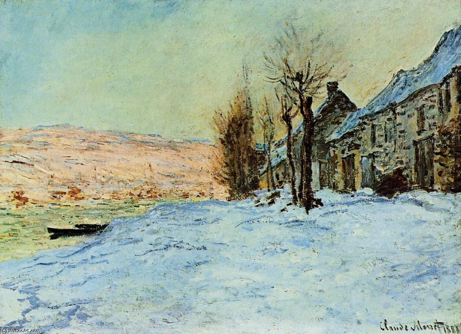 'Lavacourt, Sun and Snow', Oil by Claude Monet (1840-1926, France)