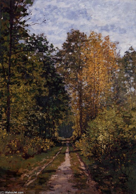 'Path in the Forest', Oil by Claude Monet (1840-1926, France)