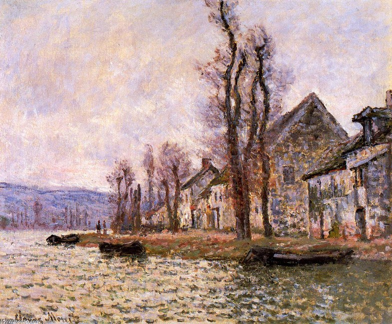'The Bend of the Seine at Lavacourt, Winter', Oil by Claude Monet (1840-1926, France)