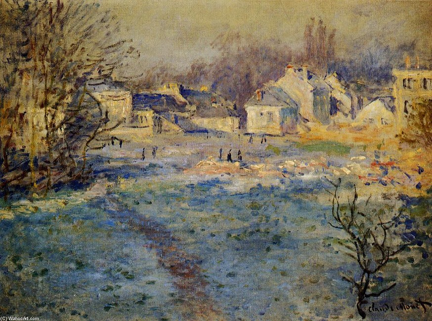 'White Frost', Oil by Claude Monet (1840-1926, France)