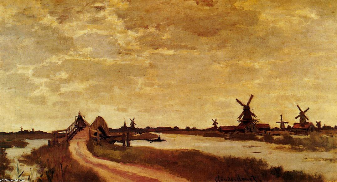 'Windmills at Haaldersbroek, Zaandam', Oil by Claude Monet (1840-1926, France)