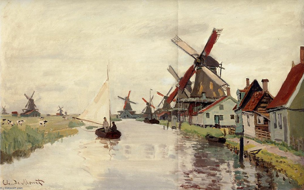 'Windmills in Holland', Oil by Claude Monet (1840-1926, France)