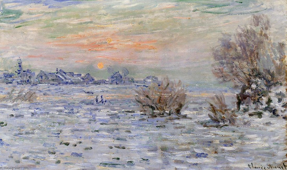 'Winter on the Seine, Lavacourt', Oil by Claude Monet (1840-1926, France)