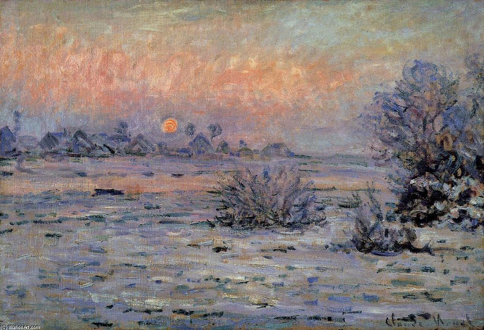'Winter Sun, Lavacourt', Oil by Claude Monet (1840-1926, France)