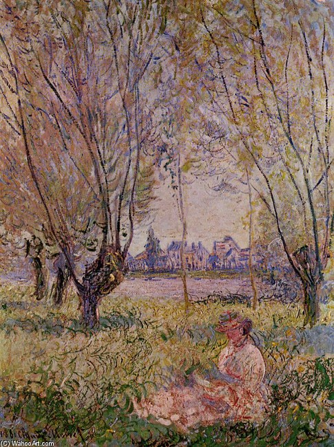 'Woman Sitting under the Willows', Oil by Claude Monet (1840-1926, France)