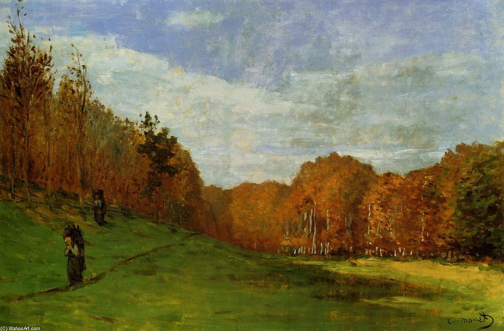 'Woodbearers in Fontainebleau Forest', Oil by Claude Monet (1840-1926, France)