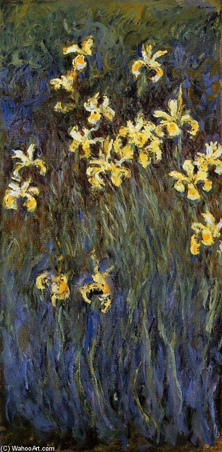 'Yellow Irises 2', Oil by Claude Monet (1840-1926, France)