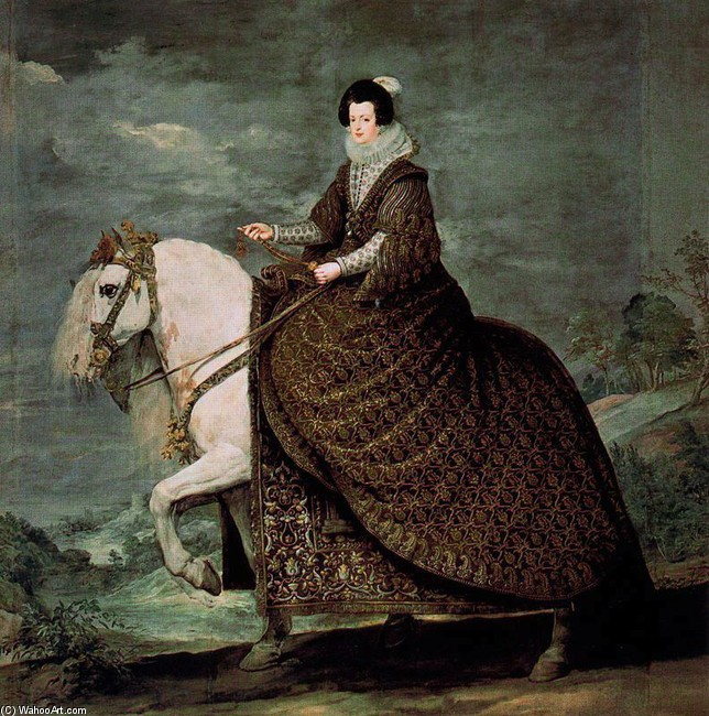 'Reina Isabel de Borbón a caballo', Oil by Diego Velazquez (1599-1660, Spain)