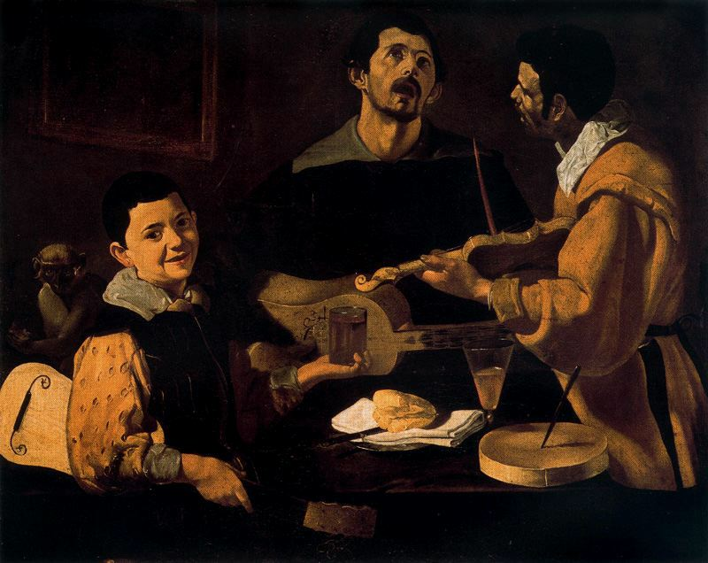 'Three musicians', Oil by Diego Velazquez (1599-1660, Spain)