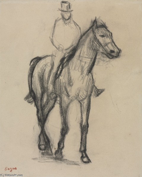 'Horse and Rider', Drawing by Edgar Degas (1834-1917, France)