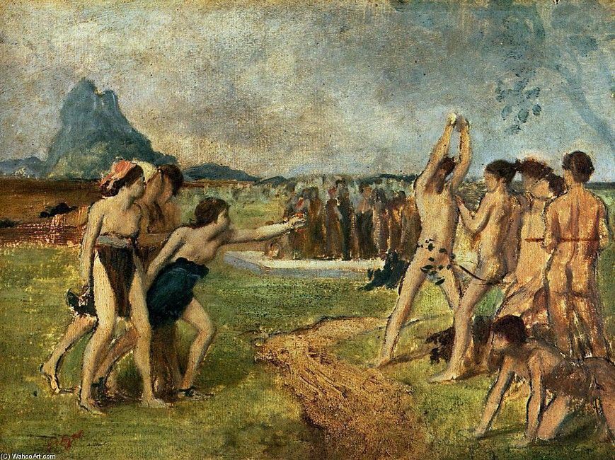'Young Spartans Exercising', Oil by Edgar Degas (1834-1917, France)