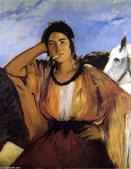 'Gypsy with Cigarette (aka Indian Woman Smoking)', Oil by Edouard Manet (1832-1883, France)