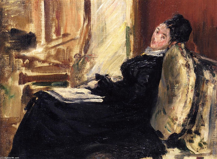 'Young Woman with Book', Oil by Edouard Manet (1832-1883, France)
