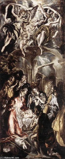 'Adoration of the Shepherds', Oil by El Greco - Dominikos Theotokopoulos (1541-1614, Spain)