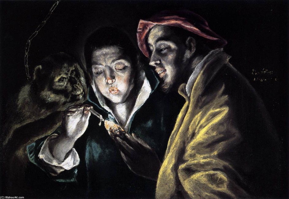 'An Allegory with a Boy Lighting a Candle in the Company of an Ape and a Fool 1', Oil by El Greco - Dominikos Theotokopoulos (1541-1614, Spain)