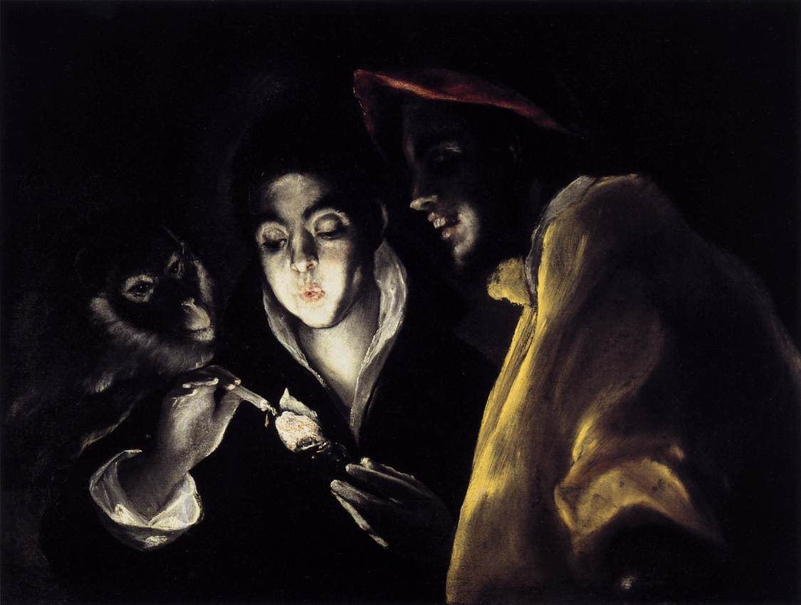 'An Allegory with a Boy Lighting a Candle in the Company of an Ape and a Fool', Oil by El Greco - Dominikos Theotokopoulos (1541-1614, Spain)