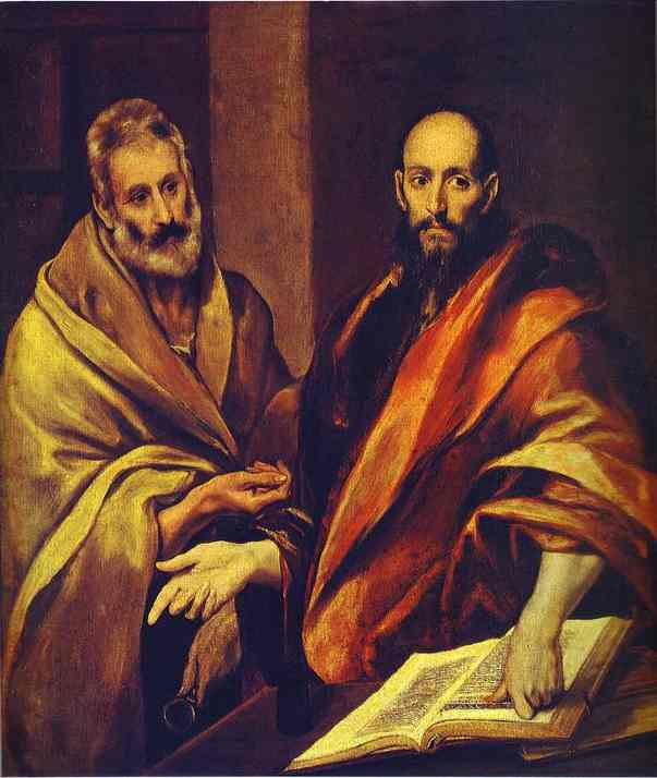'St. Paul and St. Peter', Oil by El Greco - Dominikos Theotokopoulos (1541-1614, Spain)