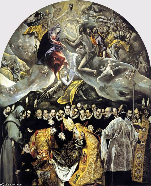 'The Burial of the Count of Orgaz', Oil by El Greco - Dominikos Theotokopoulos (1541-1614, Spain)