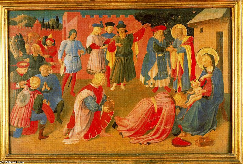 'Adoration of the magi 3', Frescoes by Fra Angelico (1400-1455, Italy)