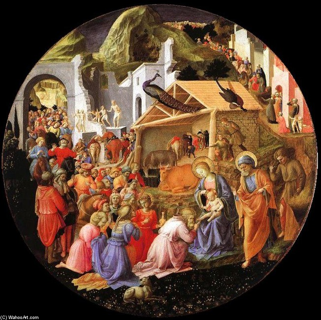 'Adoration of the magi', Tempera by Fra Angelico (1400-1455, Italy)