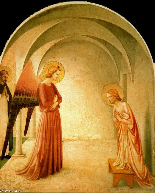 'Annunciation 2', Frescoes by Fra Angelico (1400-1455, Italy)