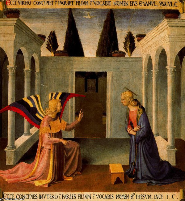 'Annunciation 3', Frescoes by Fra Angelico (1400-1455, Italy)