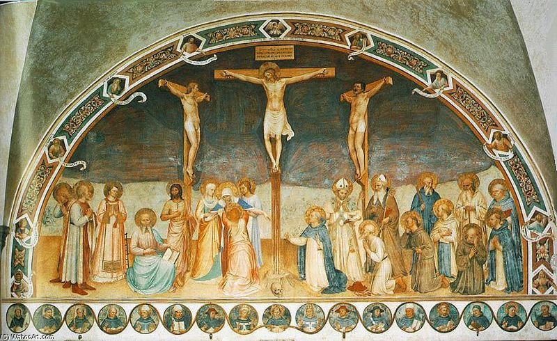 'Crucifixion and the saints', Frescoes by Fra Angelico (1400-1455, Italy)