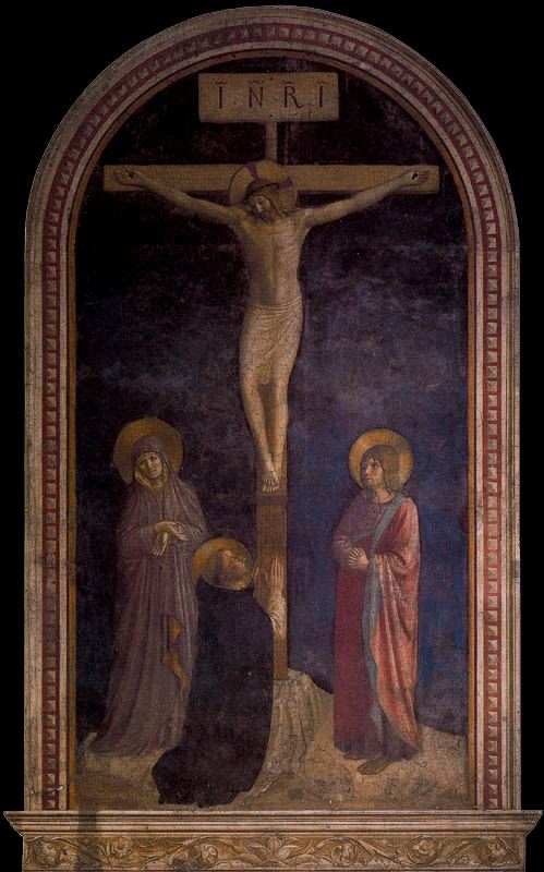 'Crucifixion with St. dominic', Frescoes by Fra Angelico (1400-1455, Italy)