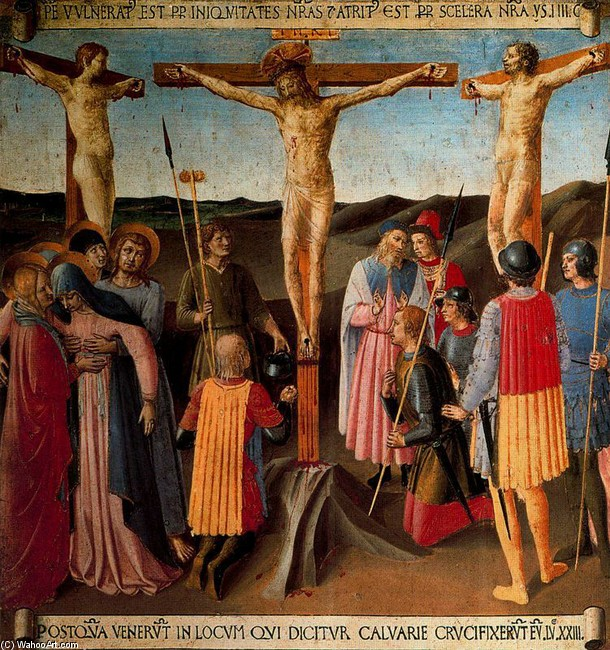 'Crucifixion', Frescoes by Fra Angelico (1400-1455, Italy)