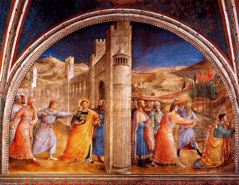 The Judgment and Stoning of Saint Stephen by Fra Angelico (1400-1455, Italy) | Oil Painting | WahooArt.com