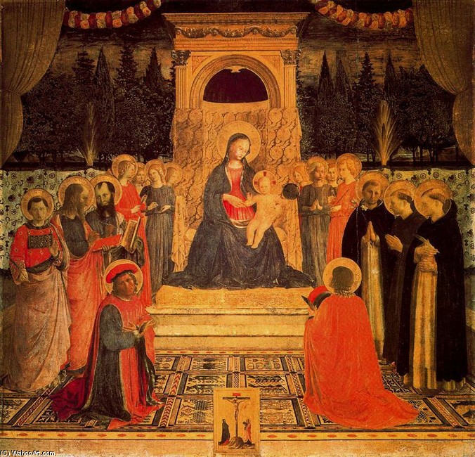 'The Virgin and Child enthroned with Angels and Saints', Tempera by Fra Angelico (1400-1455, Italy)