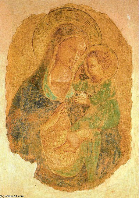 'Virgin and the Child 5', Frescoes by Fra Angelico (1400-1455, Italy)